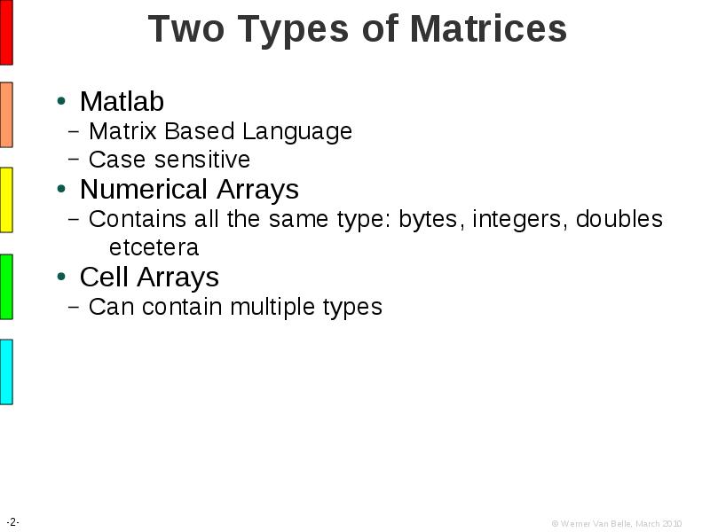 Introduction to Matlab: Matrix Manipulations and Plotting Graphs
