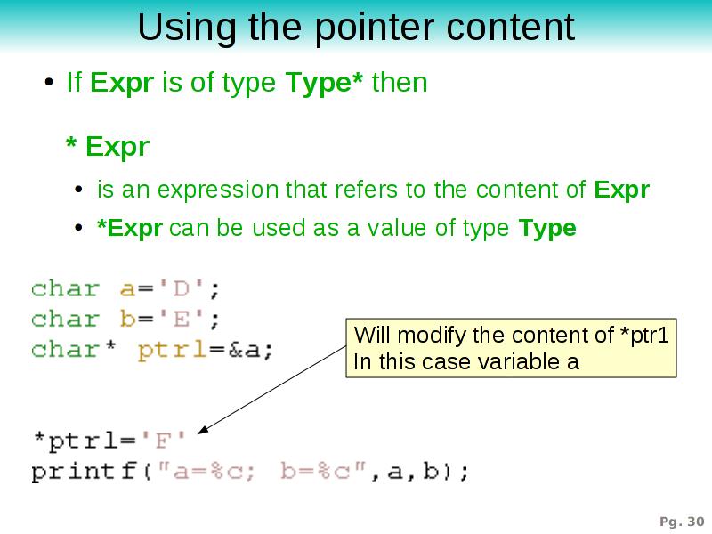 Verwendung von Zeigern in C Programmen / Using Pointers in C Programs
